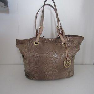 Michael Kors Tan Snakeskin Large Tote Bag